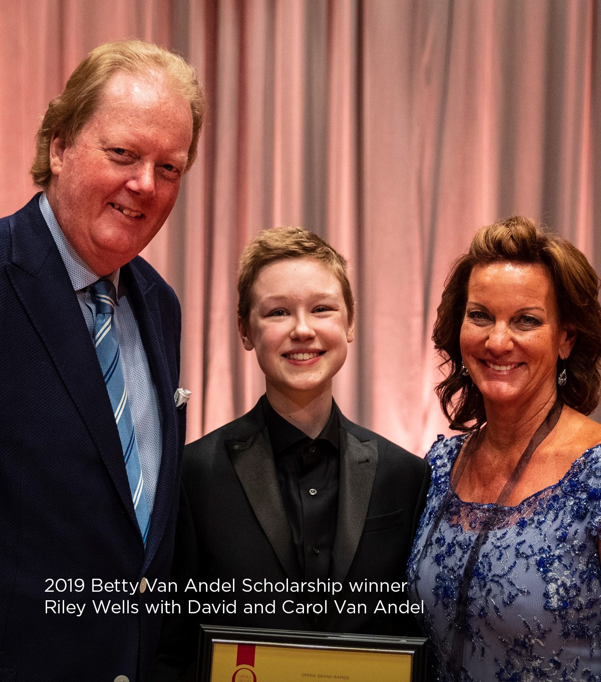 2019 Betty Van Andel Scholarship winner Riley Wells with David and Carol Van Andel